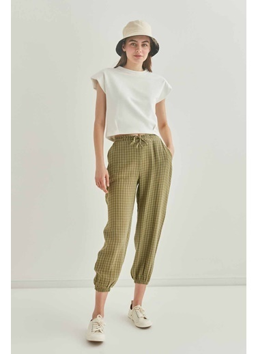 Vitrin Kareli Pamuk Kumaş Lastikli Şalvar Pantolon Yeşil
